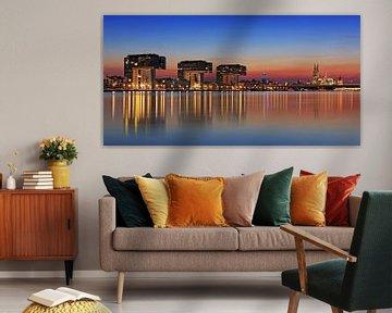 Keulen skyline op het blauwe uur van Frank Herrmann