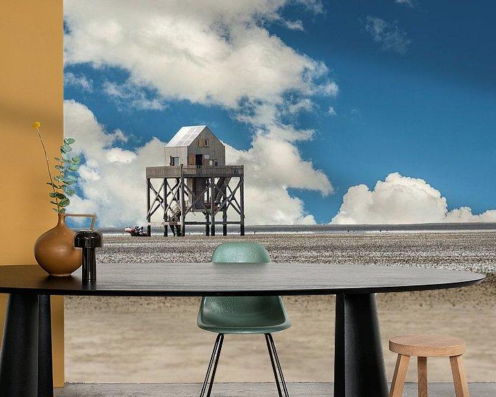 Sfeerimpressie behang: Onderzoekstation op de Waddenzee van Brian Morgan