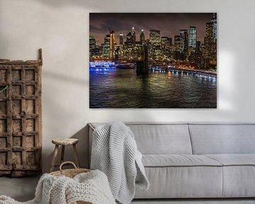 New York avond skyline van Ruurd Dankloff