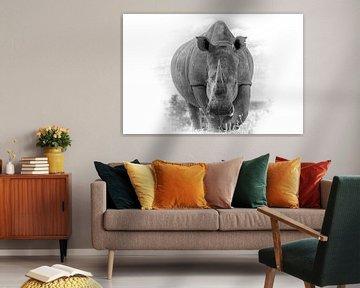Porträt eines Nashorns, Froschperspektive. von Gunter Nuyts