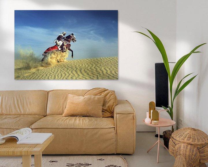 Beispiel: Bedouin auf  Pferd auf Sanddüne von Frans Lemmens