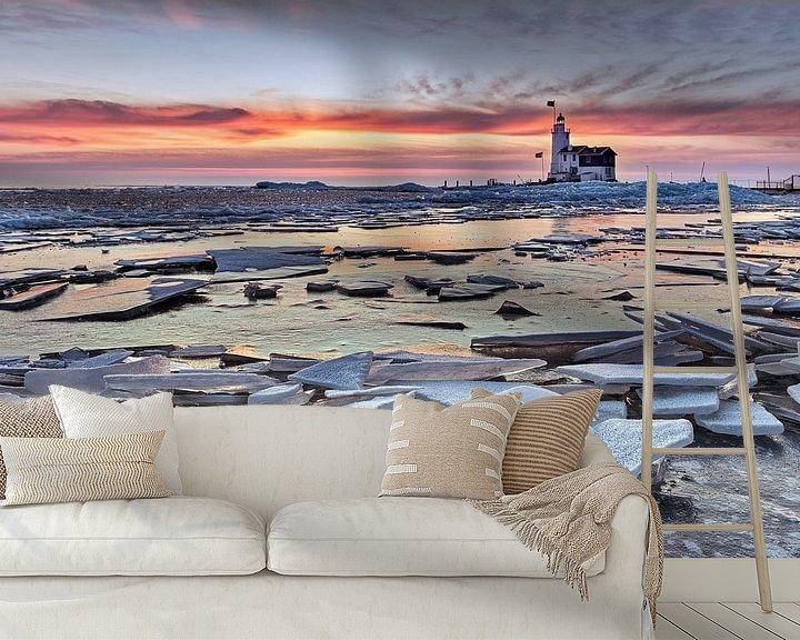 Beispiel fototapete: Eisschollen am Leuchtturm von Frans Lemmens