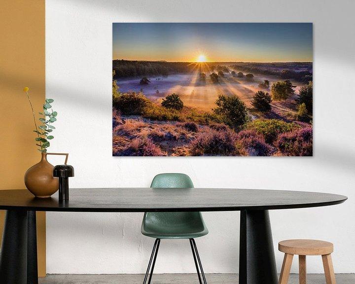 Impression: La bruyère en fleur au lever du soleil sur Frans Lemmens