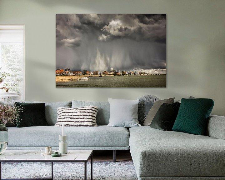 Impression: Ciel menaçant et tempête de grêle au-dessus de Durgerdam sur Frans Lemmens
