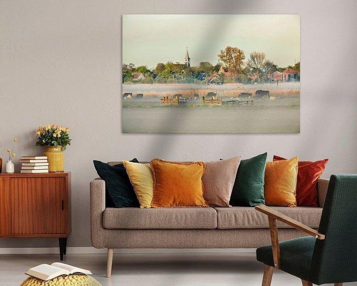 Beispiel: Skyline des Dorfes Jisp im Morgennebel von Frans Lemmens
