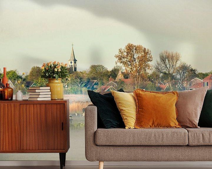 Beispiel fototapete: Skyline des Dorfes Jisp im Morgennebel von Frans Lemmens