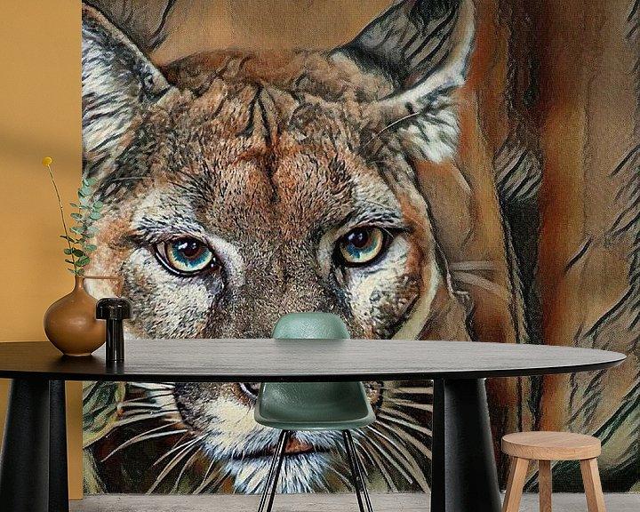 Sfeerimpressie behang: Jachtluipaard van Rita Tielemans