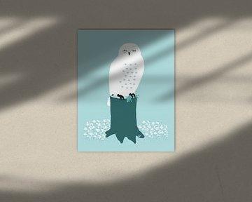 Sneeuwuil met prooi van Studio Mattie