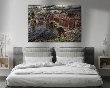 Zweden landschap met huizen aan een fjord vissersdorp van Evelien van der Horst