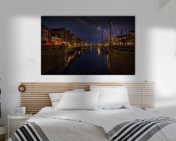 Delfshaven la nuit sur Mart Houtman