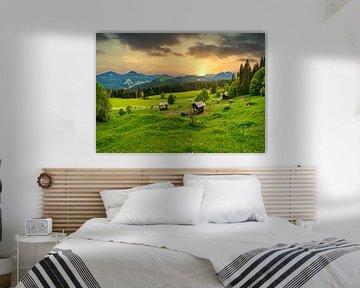 Abstrakter Sonnenuntergang im Allgäu von MindScape Photography