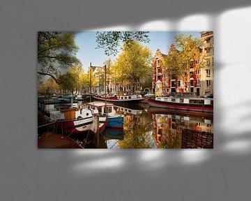 Hausboote in der Keizersgracht in Amsterdam von Frans Lemmens