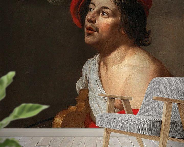 Sfeerimpressie behang: Jan van Bijlert, Een jonge violist in een rode pet en mantel van Atelier Liesjes