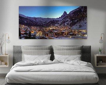 Zermatt und das Matterhorn bei Einbruch der Nacht von Arthur Puls Photography