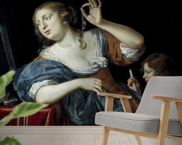 Sfeerimpressie behang: Jan van Bijlert, Vanitas - 1650 van Atelier Liesjes