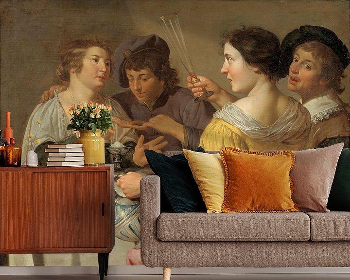 Beispiel fototapete: Jan van Bijlert, Fröhliche Vierer, Brezeln essen, Brezel ziehen - 1630er Jahre von Atelier Liesjes