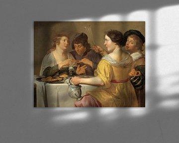 Jan van Bijlert, Vrolijk viertal, krakelingen etend, Het trekken aan de krakeling - 1630s van Atelier Liesjes