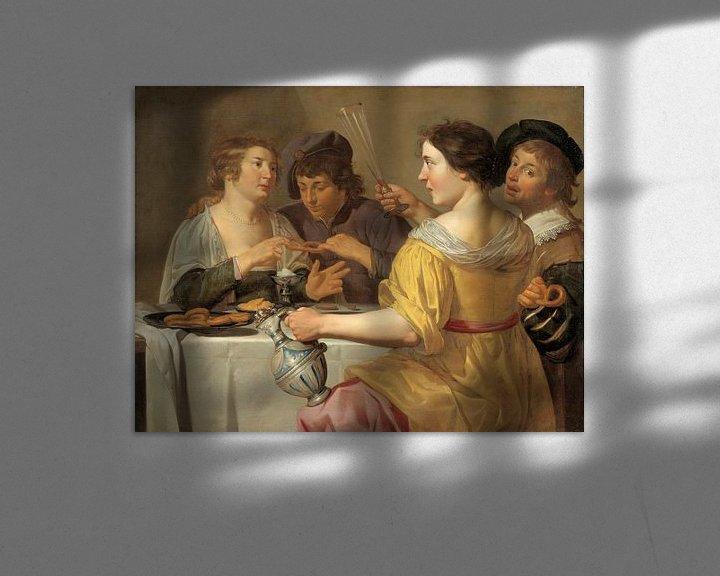 Beispiel: Jan van Bijlert, Fröhliche Vierer, Brezeln essen, Brezel ziehen - 1630er Jahre von Atelier Liesjes