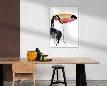 Toekan - Kunst Print  bijzondere tropische vogel  illustratie van Angela Peters