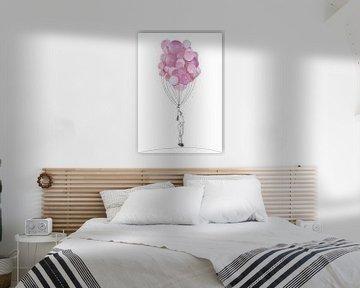 Collage Art Poster Girl avec ballon sur Angela Peters