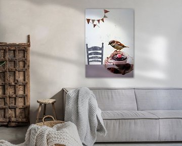 Collage-Kunstdruck - Party der Vogelfreunde von Angela Peters