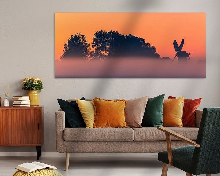 Sfeerimpressie: Zonsopkomst bij de Langelandstermolen in Garmerwolde van Henk Meijer Photography