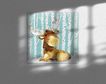 Herten in het winterbos - Illustratie van Uta Naumann