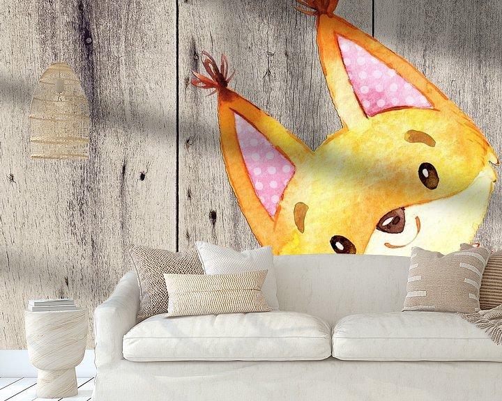 Beispiel fototapete: Fuchs - Wasserfarben Illustration von Uta Naumann