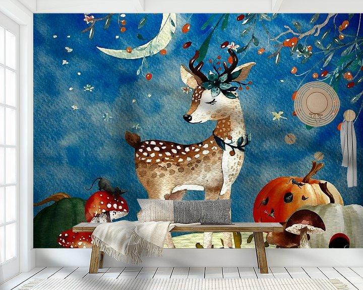 Beispiel fototapete: Nacht Illustration  Reh im Herbst von Uta Naumann