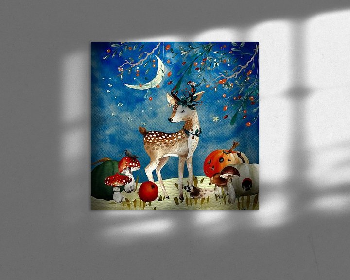 Beispiel: Nacht Illustration  Reh im Herbst von Uta Naumann