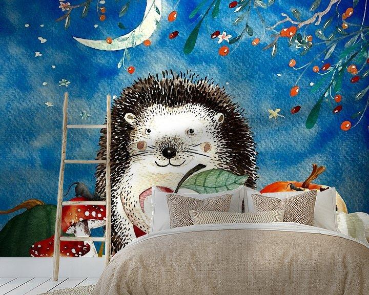 Beispiel fototapete: Nacht Illustration  Igel im Herbst von Uta Naumann