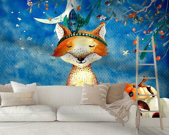 Beispiel fototapete: Nacht Illustration  Fuchs im Herbst von Uta Naumann