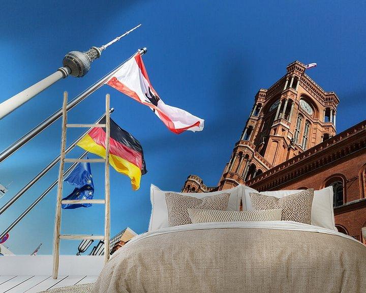 Impression: Hôtel de ville et tour de télévision rouges à Berlin sur Frank Herrmann