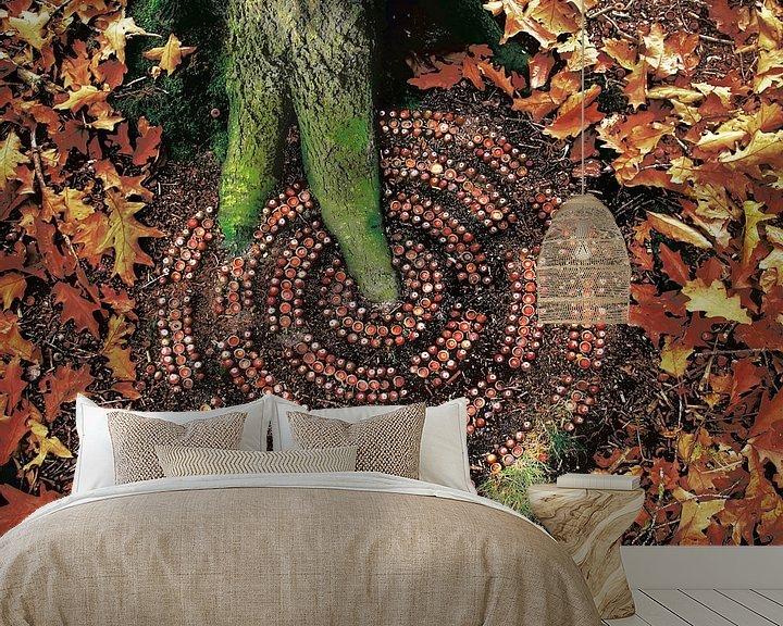 Sfeerimpressie behang: Eekhoorntjes Paradijs van Mies Heerma