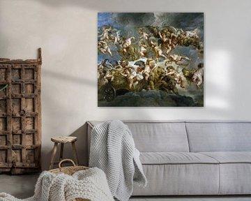 Engel mit von Löwe und Bär getragener Kutsche - Peter Paul Rubens, 1633