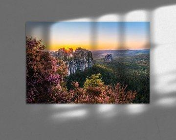 Kleurrijk landschap bij de Schrammsteinrots van Christian Klös