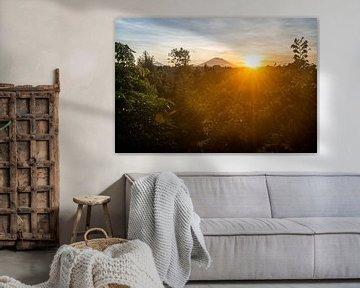 Zonsopkomst met Vulkaan Gunung Agung vanuit Ubud van Ellis Peeters