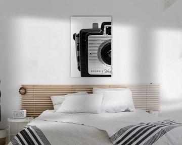 Foto einer Retro-Kamera in Schwarzweiß.