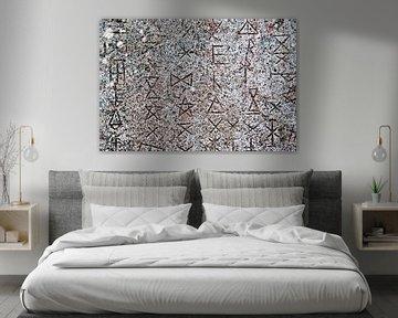 Symbolen op abstracte muur van Artstudio1622