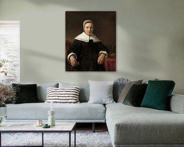 Eine Frau hält eine Rosa, Rembrandt