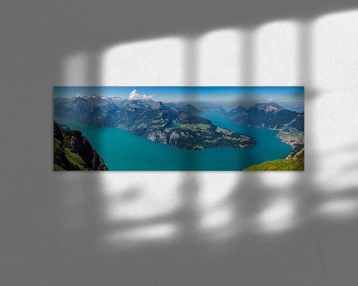 Impression: Panorama du lac des Quatre-Cantons depuis le Fronalpstock sur Peter Moerman