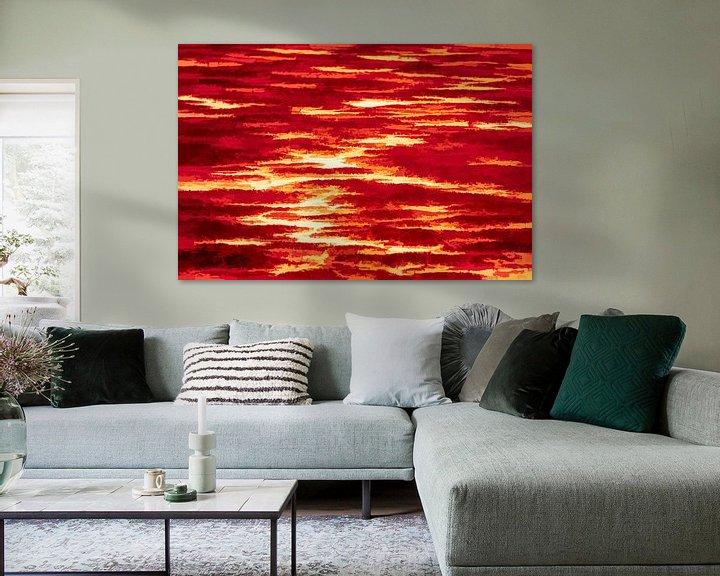 Sfeerimpressie: Abstract landschap in rood van Leo Luijten