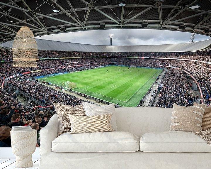 Sfeerimpressie behang: Kolkende Kuip tijdens Feyenoord-Ajax van Jeroen van Dam