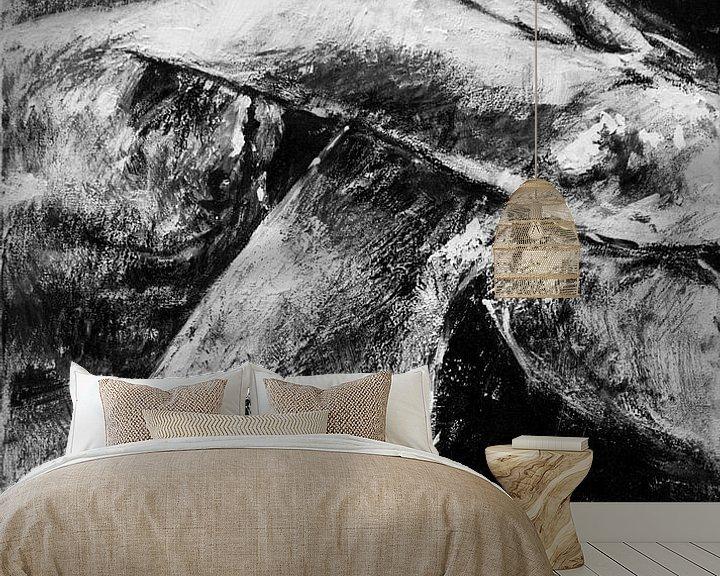 Beispiel fototapete: Gemälde eines sitzenden männlichen Modells in Schwarz-Weiß. von Therese Brals