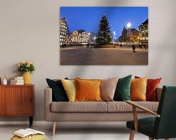 Weihnachten auf dem Dam-Platz in Amsterdam bei Nacht von Nisangha Masselink