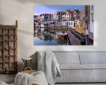 Bootsanlegestelle Dordrecht im Abendlicht von Martin Hulsman