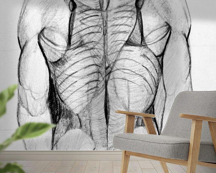 Beispiel fototapete: Zeichnung einer Männerfigur in Schwarz-Weiß. von Therese Brals