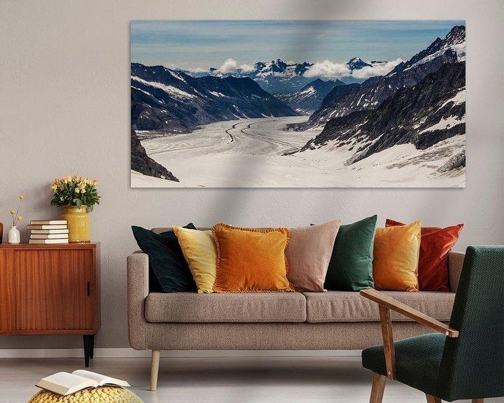 Sfeerimpressie: panorama Aletsch gletsjer gezien van de Jungfraujoch van Peter Moerman
