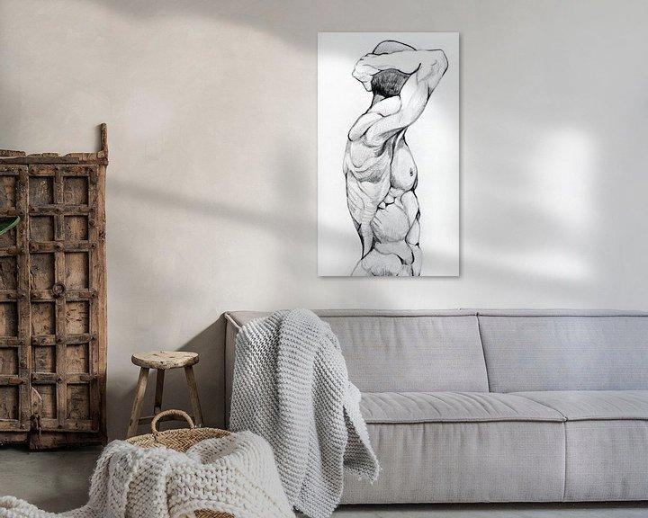 Beispiel: Zeichnung einer Männerfigur in Schwarz-Weiß. von Therese Brals
