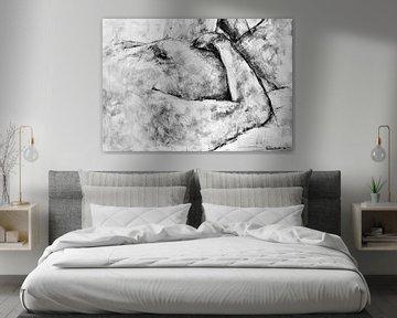 Schilderij van een liggende naakte man in zwart wit. van Therese Brals